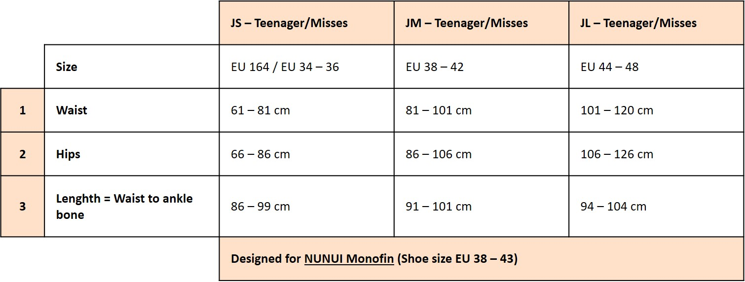 Sizing chart teen and adult